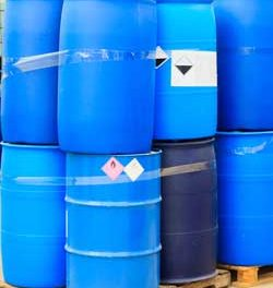 Steel Barrels, Plastic Barrels mixed on pallets and stacked