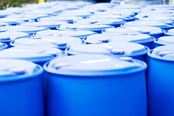 plastic barrels packed together