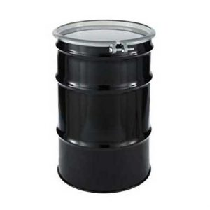 Reconditioned Steel Drum Open Head in black with white top